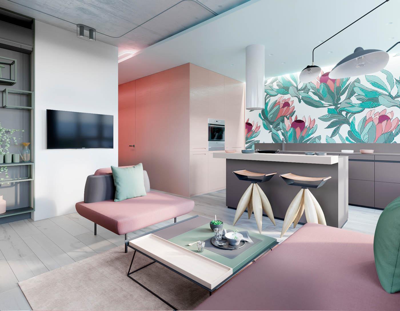 طراحی داخلی آپارتمان با تم صورتی و سبز - interior design using pink green 2 1