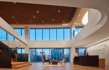 طراحی دفتر کار با سقف ارگانیک آکوستیک