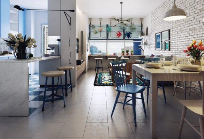 طراحی داخلی آپارتمان با تم دریایی