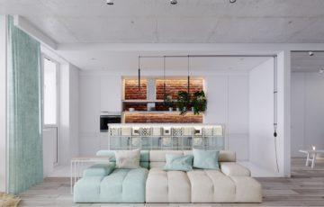 طراحی داخلی استودیو آپارتمان به رنگ فیروزه ایی