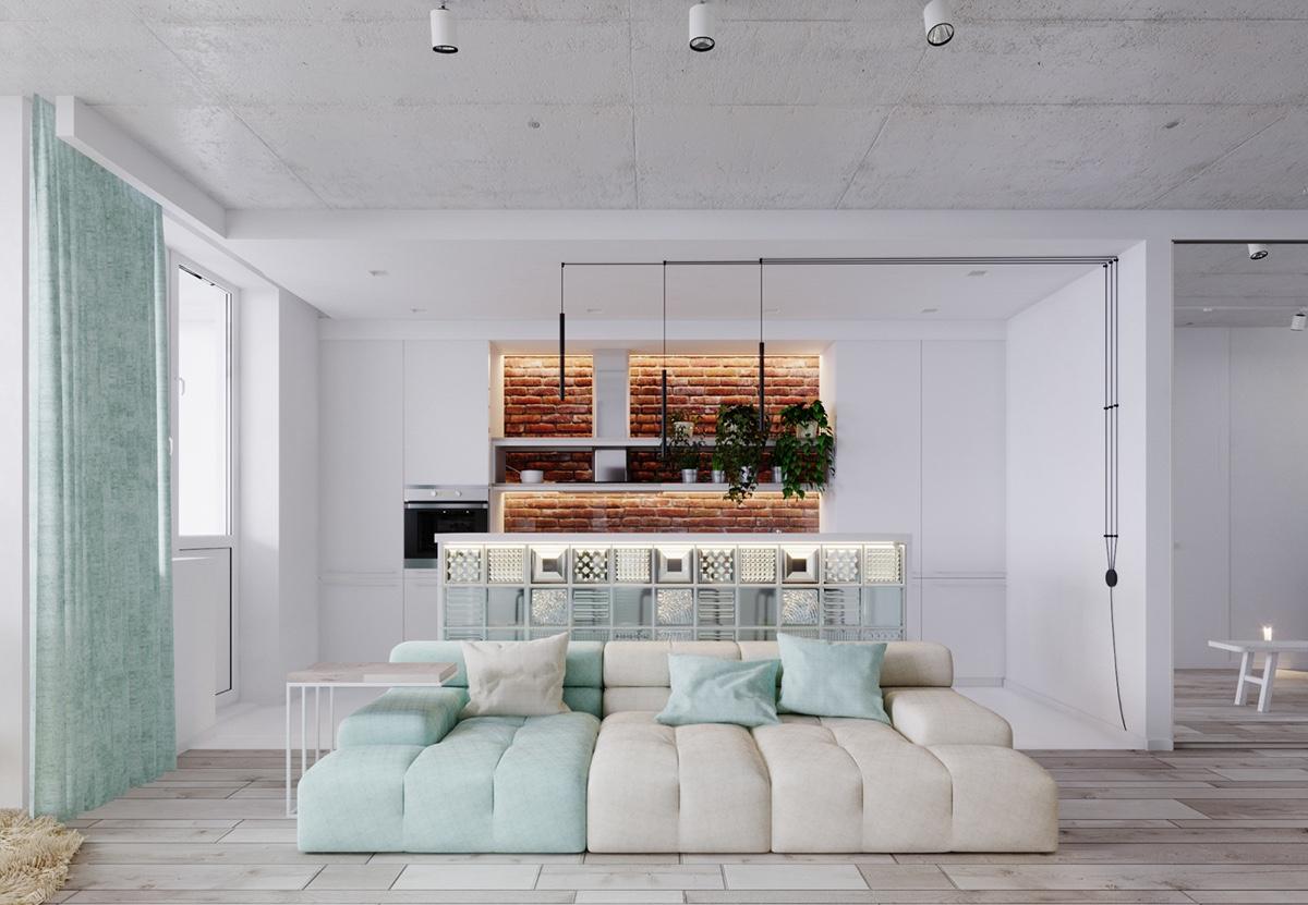 طراحی داخلی استودیو آپارتمان به رنگ فیروزه ایی - studio apartments minty turquoise 2 1