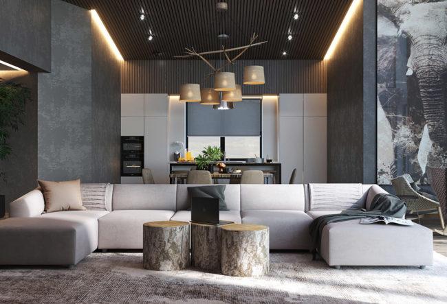 طراحی داخلی 4 آپارتمان با تم خاکستری