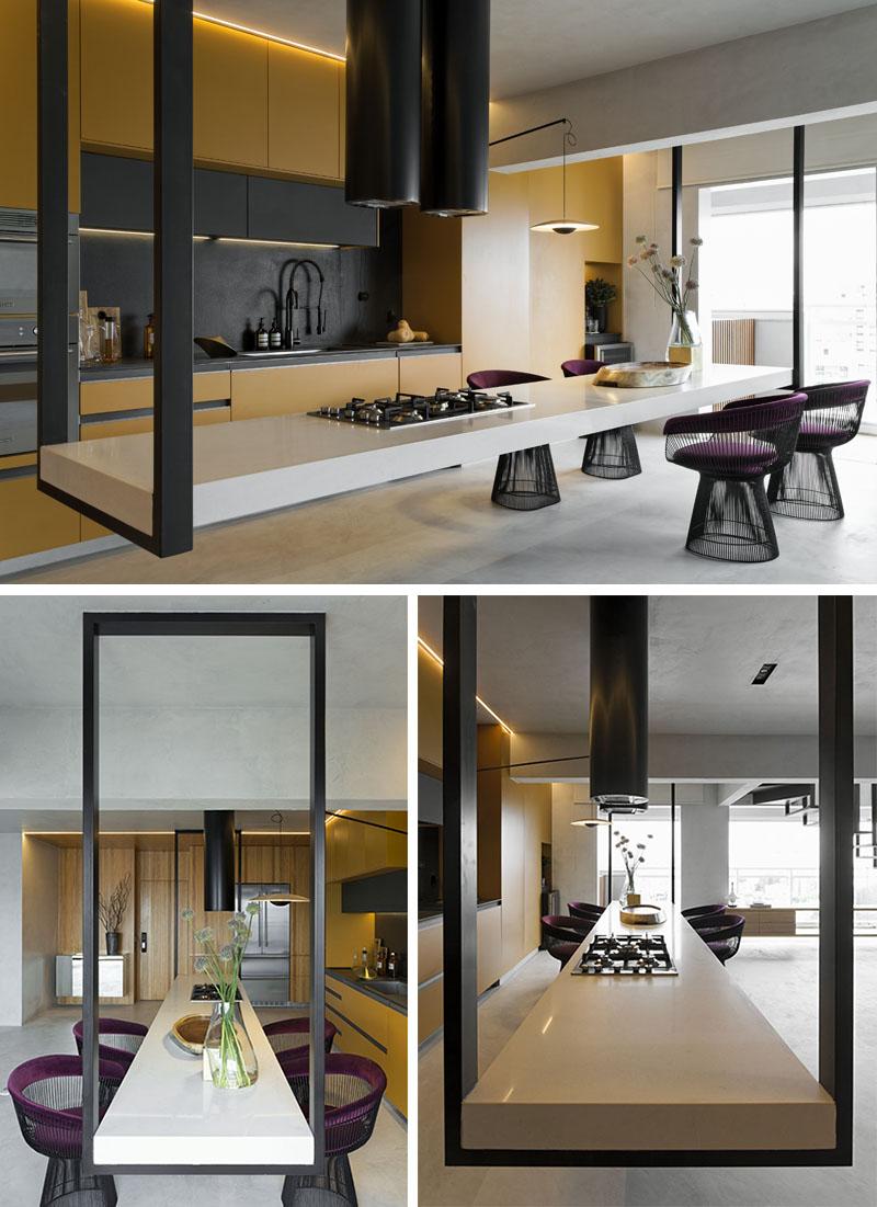 طراحی داخلی آشپزخانه با کانتر معلق - Kitchen Hanging Island 3
