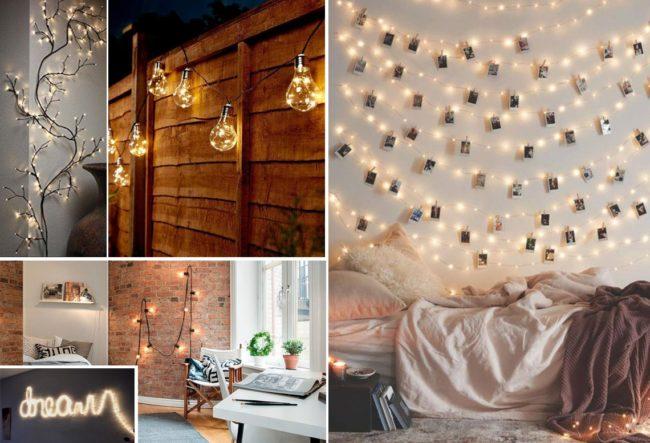 ایده هایی برای تزئین خانه با ریسه