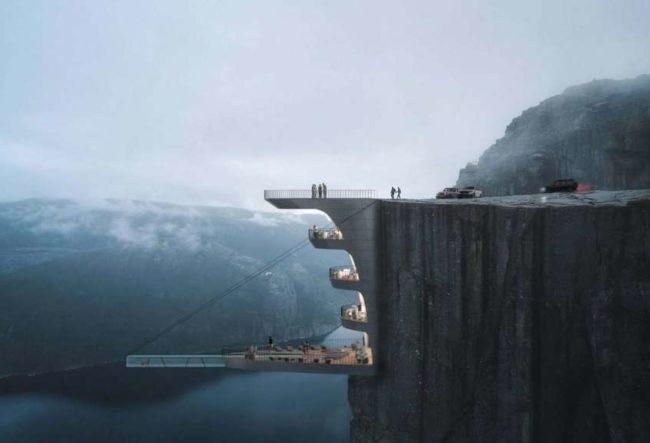 طراحی هتل با استخر شیشه ایی معلقدر نروژ