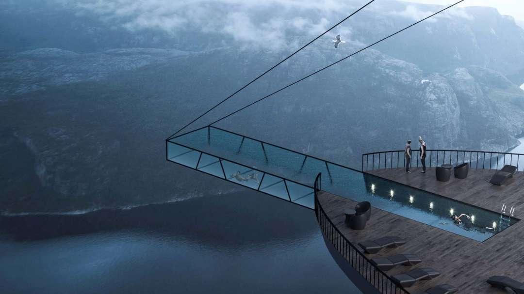 طراحی استخر شیشه ایی بر لبه پرتگاهی