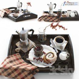 دانلود مدل سه بعدی میز غذا خوری و ست کامل ظروف