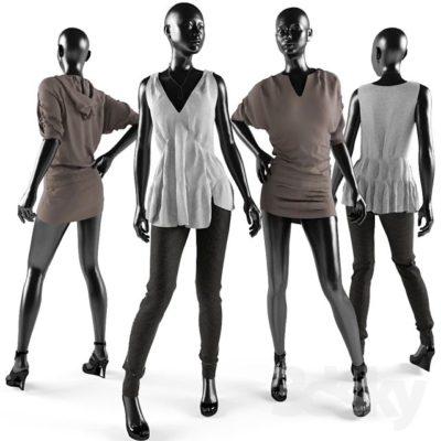 مدل سه بعدی ست لباس مردانه و زنانه