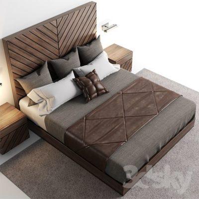 مدل سه بعدی تخت خواب و لوازم خواب