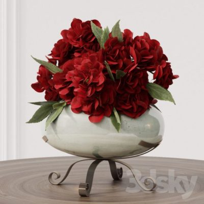 مدل سه بعدی گلدان گل