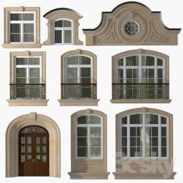دانلود مدل سه بعدی ست پنجره مدرن و کلاسیک