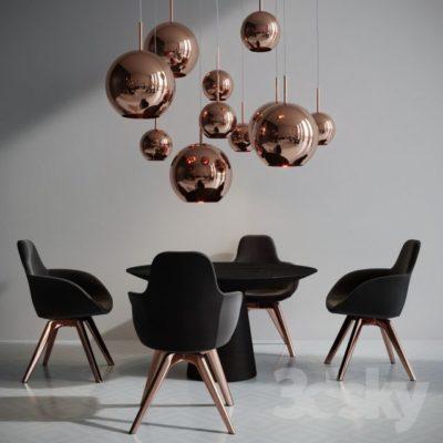 مدل سه بعدی ست میز و صندلی مدرن