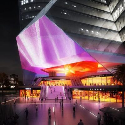 مدل سه بعدی نمای ساختمان و محوطه سازی