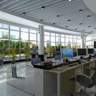 صحنه آماده سه بعدی از طراحی فضای اداری